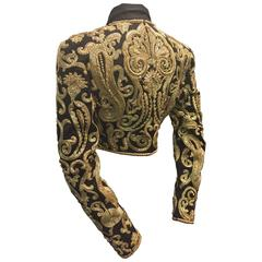 1980s Genny Black Silk Faille and Gold Bead Encrusted Toreador Jacket