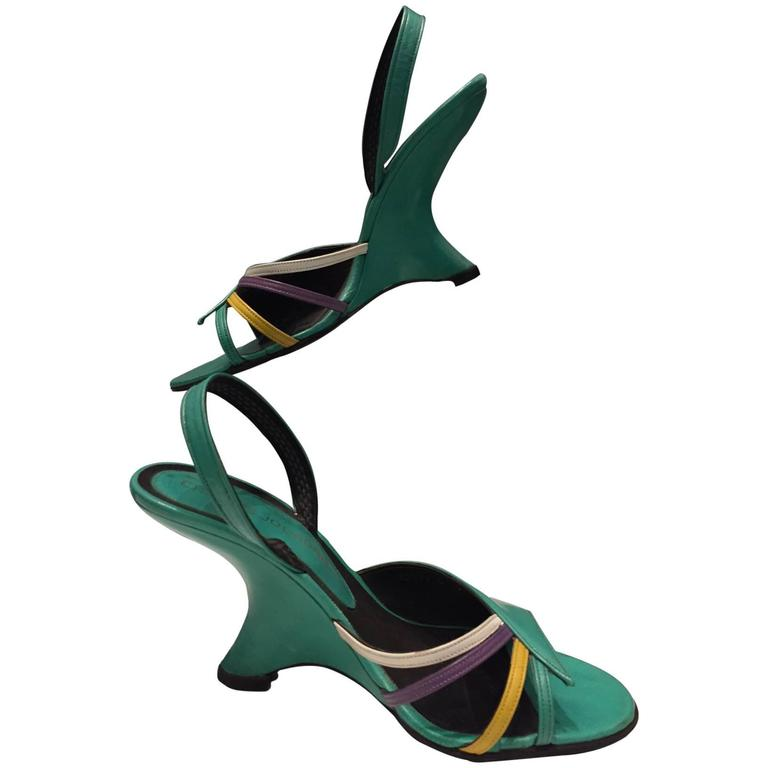 1980s Charles Jourdan Turquoise Sandal w/ 1940s Style Cut-In Wedge For Sale