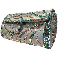 1950s Koret Aqua Leather and Azure Rhinestone Embellished Barrel Clutch