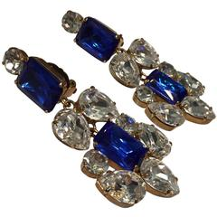 Stunning Sapphire & Rhinestone Chandelier Earrings