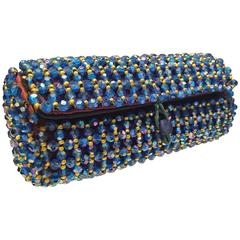 1950s Koret Sapphire Blue and Gold Beaded Barrel Clutch