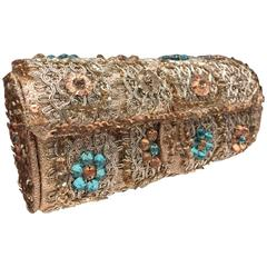 1950s Koret Silver Lamé Braid Sequin and Rhinestone Barrel Clutch