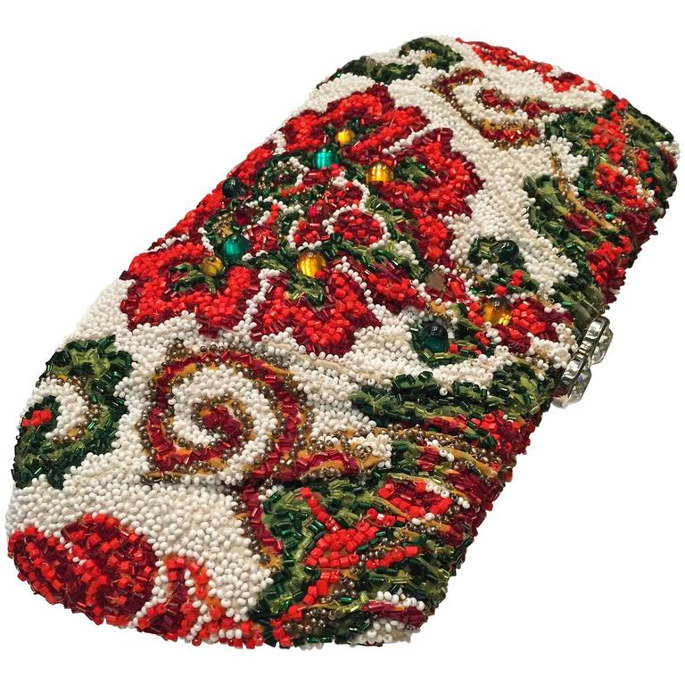 1950s Nettie Rosenstein Stylized Floral Beaded and Stoned Evening Clutch  1