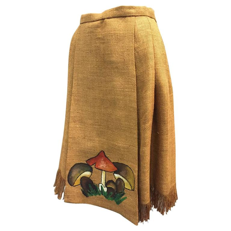 Italian Burlap Pleated Fringed Skirt with Hand Painted Mushroom Detail, 1960s   For Sale
