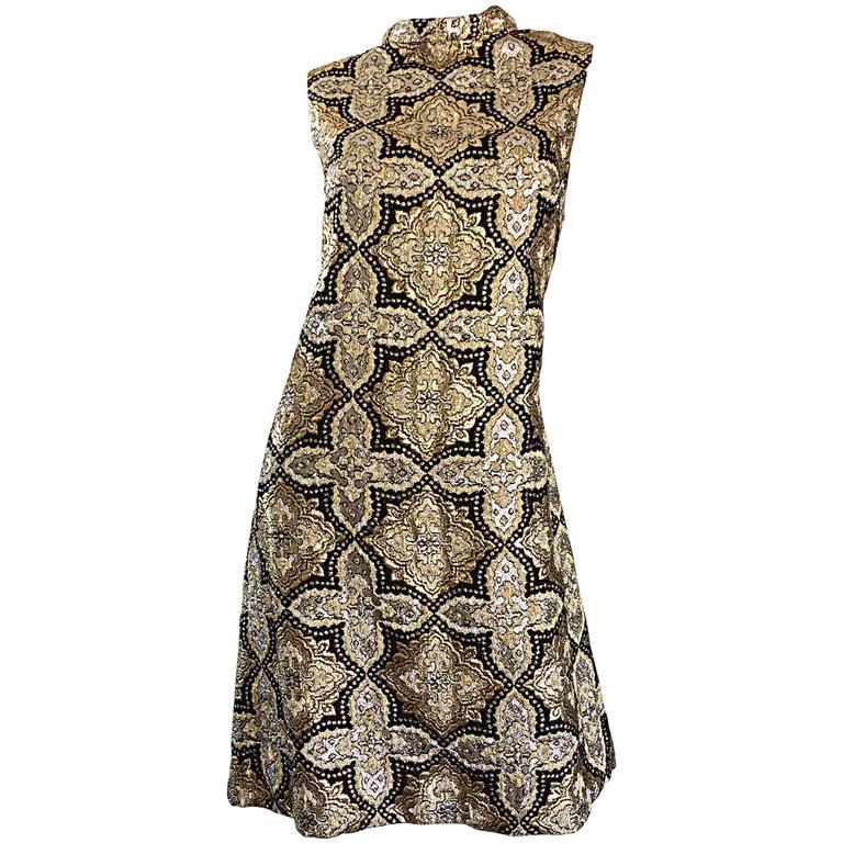 1960s Pat Sandler Silver + Gold + Black Silk Brocade Rhinestone A - Line Dress