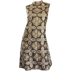1960s Pat Sandler Silver + Gold + Black Silk Brocade Rhinestone A - Line Dress