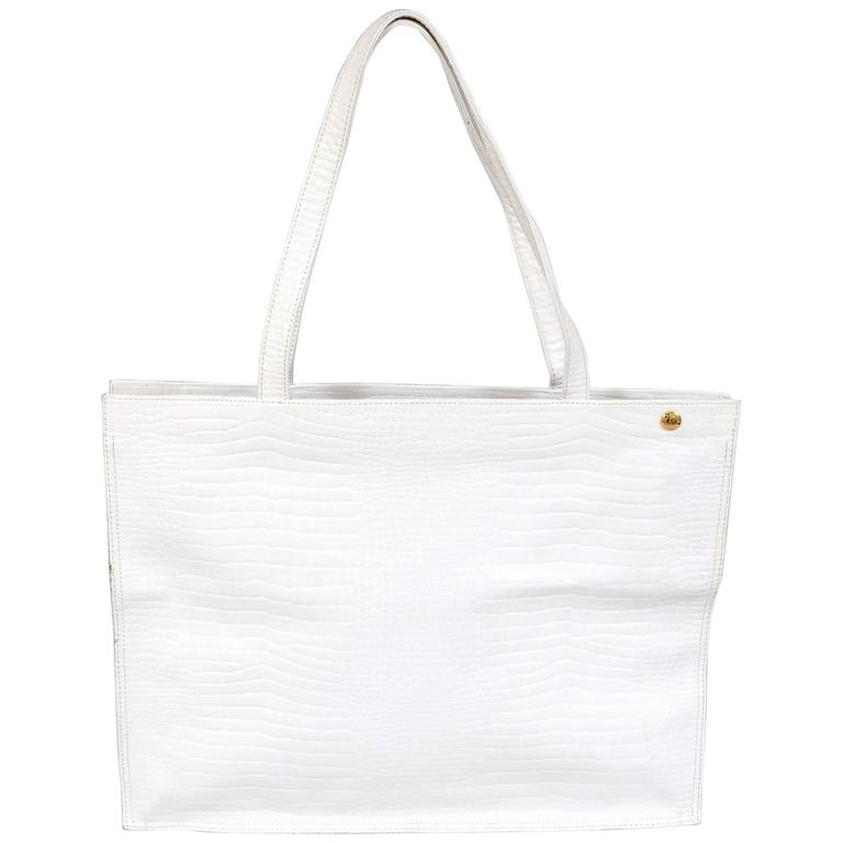 1b9c73fbd3bb9b Lancel, Paris White Leather Alligator Pattern Tote, Never Used For Sale