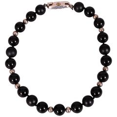 Cartier Necklace Matte and Shiny Onyx & Silver Beads Silver & Gold Clasp