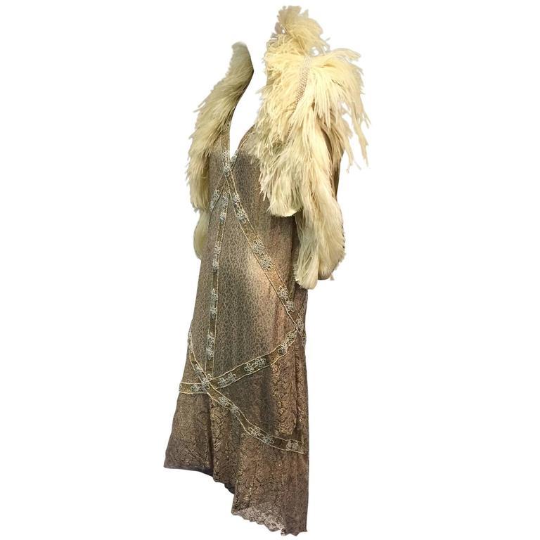 1920s Thurn Gold Lamé Lace Evening Dress and Ostrich Feather Vest Ensemble