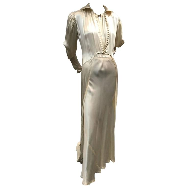1930s 2-Piece Bridal Bias-Cut Gown and Coat w Long Train and Rhinestone Neck
