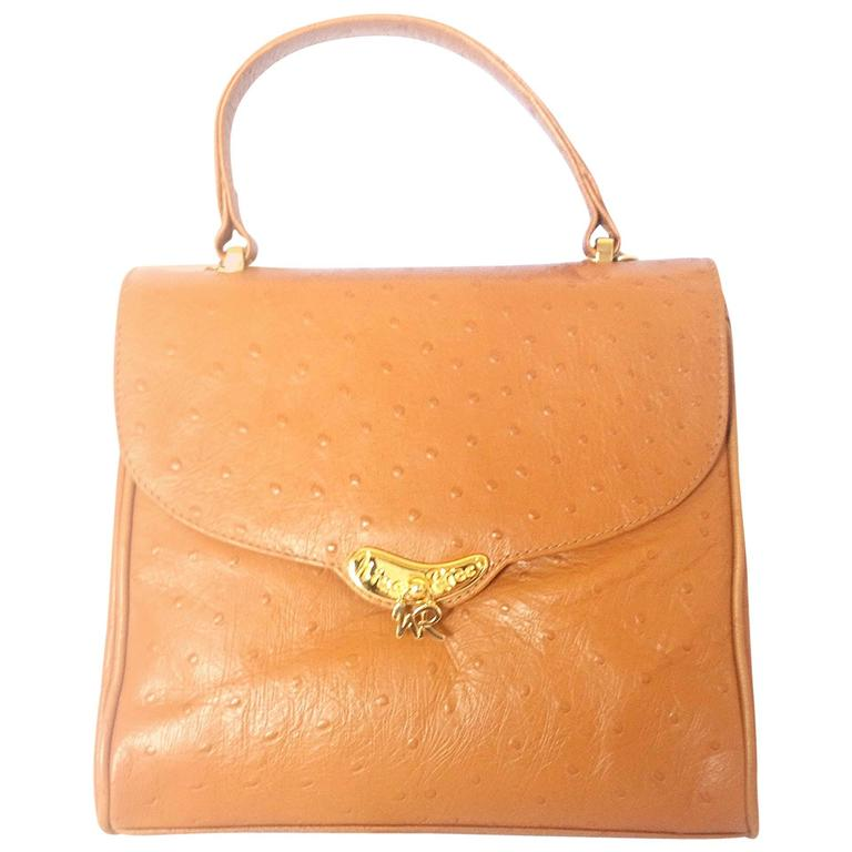 MINT. Vintage Nina Ricci tan brown ostrich-embossed leather handbag purse.