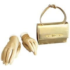1950s Vintage Gold Metallic Leather 50s Purse Bag w/ Matching Gold Lurex Gloves
