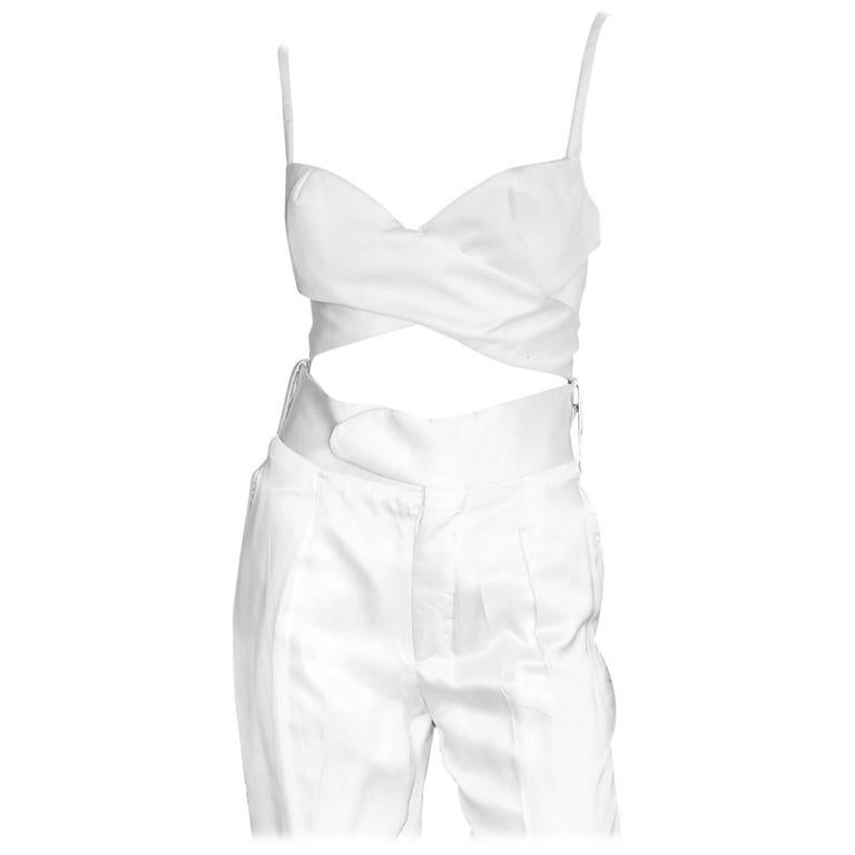 That Famous Tom Ford For Gucci SS 2001 Runway White Silk Bra Top & Cargo Pants! 1