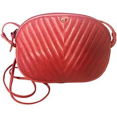 Vintage Valentino Garavani wine burgundy leather mini shoulder bag, V stitch