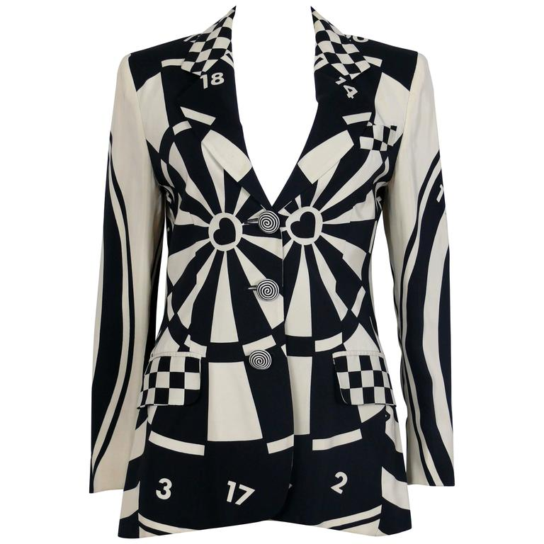 Moschino Vintage Monochrome Dartboard Print Blazer For Sale
