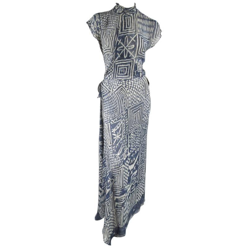 RALPH LAUREN COLLECTION Size 8 Printed Navy Silk Chiffon Wrap Maxi ...