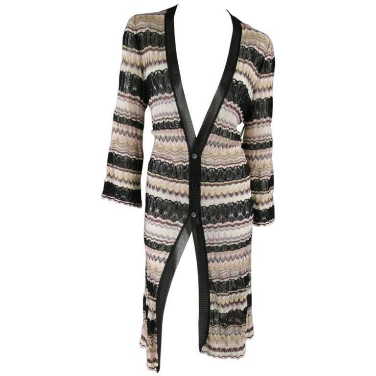 MISSONI Beige Brown Pink Grey & Black Striped Mesh Knit Cardigan Coat For Sale