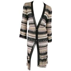 1990's M Missoni Black and Gold Metallic Oversized Knit Cardigan ...