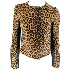 A.L.C. Size 8 Tan & Black Cheetah Leopard Pony Hair Biker Jacket