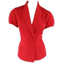 MUGLER Size 6 Red Shourt Sleeve Velcro Blazer Jacket