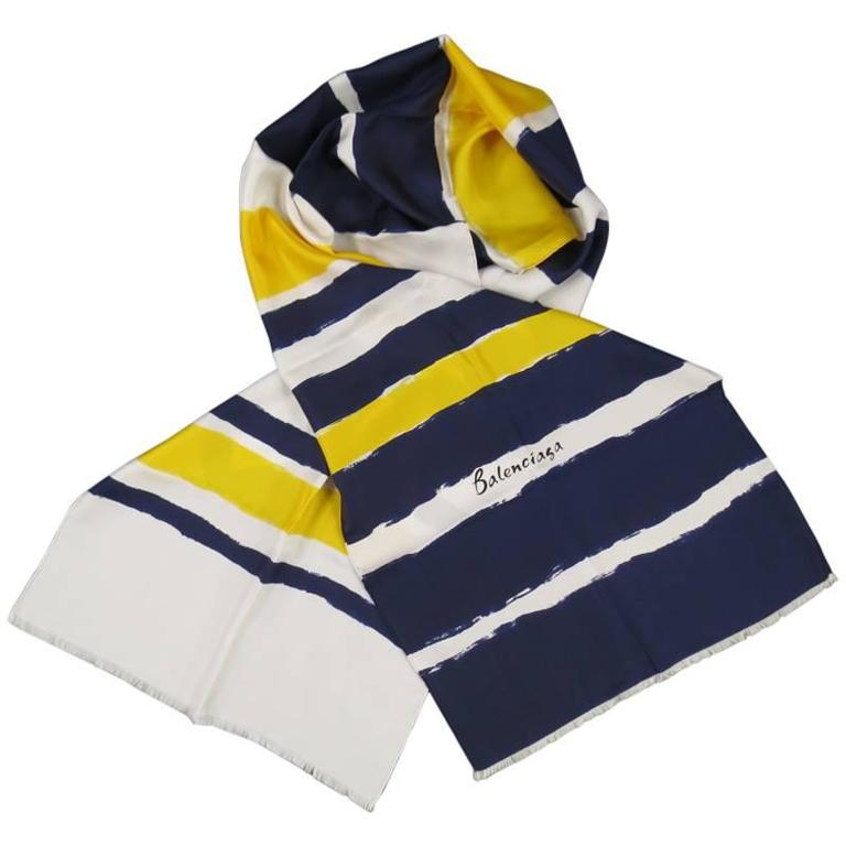 Vintage Balenciaga Navy White And Yellow Brush Stroke Striped Silk