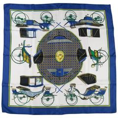 HERMES Blue Gold & White Silk Les Voitures a Transformation Equestrian Scarf