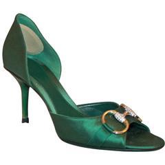 Gucci Green Satin Peep Toe Heels w/ Gold Buckle & Rhinestones - 6.5B