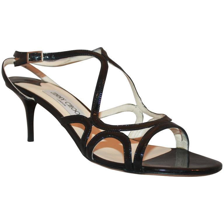 Jimmy Choo Black Patent Strappy Sandal Heels - 40