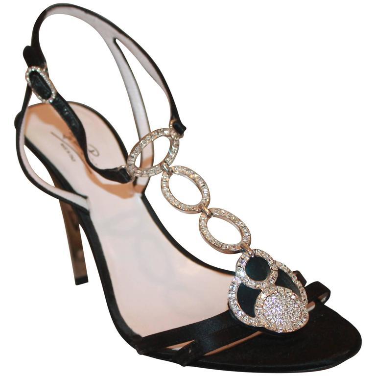 Emilio Pucci Black Satin Strappy Sandal Heels w/ Rhinestone Detail - 41