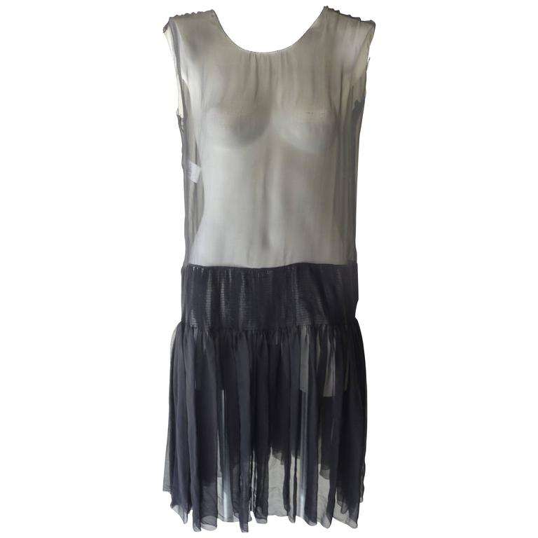 Rochas Sheer Black Silk Dress (42 itl)