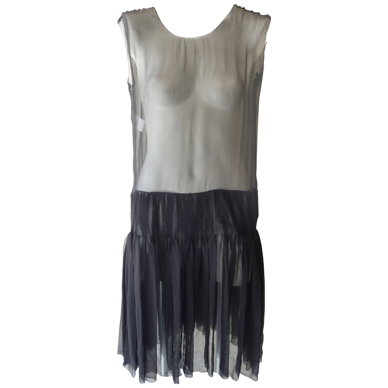 Stunning Rochas Sheer Black Silk Dress (42 itl)