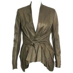 Rick Owens NEW Metallic Bronze Lamb Leather Tie Belt Day Evening Blazer Jacket