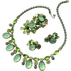 Elsa Schiaparelli 1950s 'Lava' rock green three piece parure