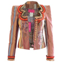 Christian Lacroix Silk Jacket with Stripes, Tapestry + Ruffles New Tags sz36
