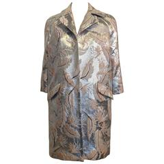 Adam Lippes Silver and Mauve Brocade Coat