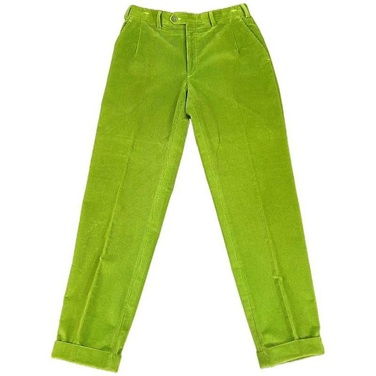 BRIONI Size 32 Green Corduroy Dress Pants