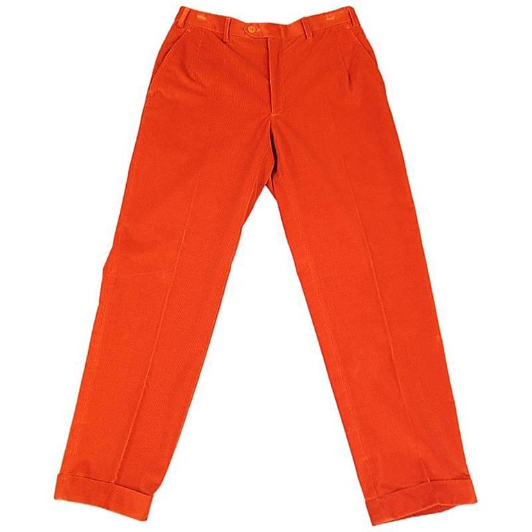 BRIONI Size 32 Orange Corduroy Cuffed Dress Pants For Sale