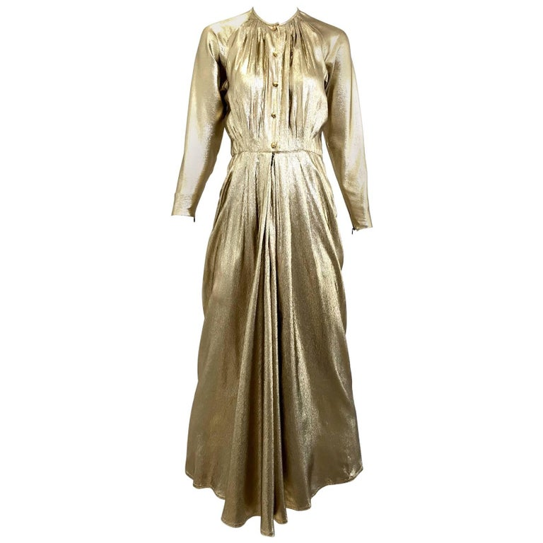 1970s Geoffrey Beene  gold lame gown For Sale