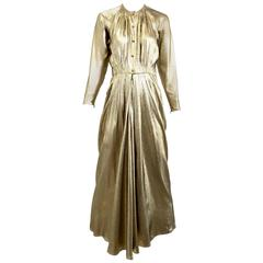 1970s Geoffrey Beene  gold lame gown