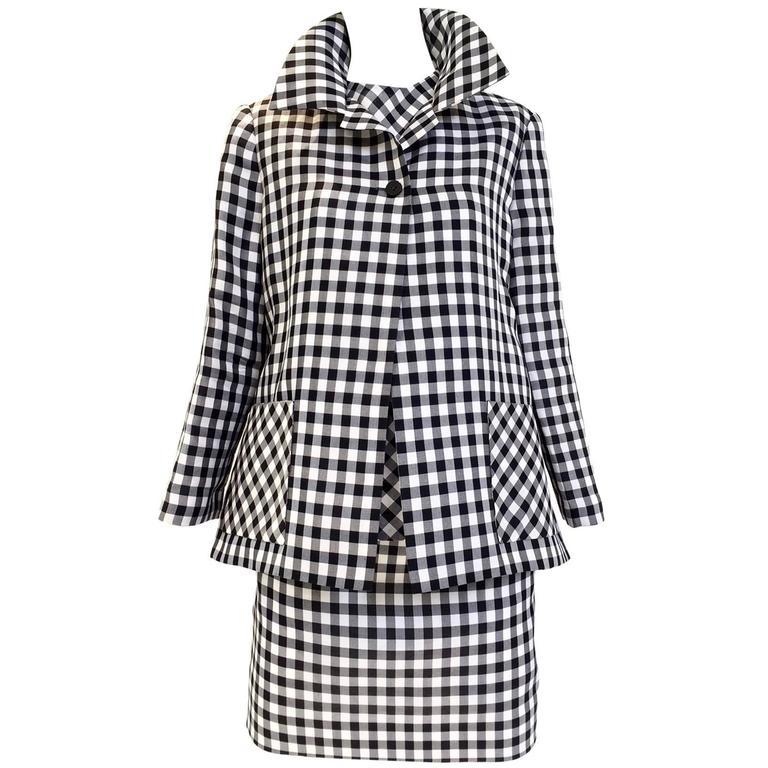 Vintage Bill Blass Black and White Checkered Print 3 pcs ensemble 1