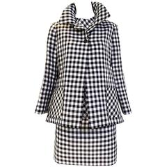 Bill Blass silk organdy checkered 3 pcs jacket skirt suit