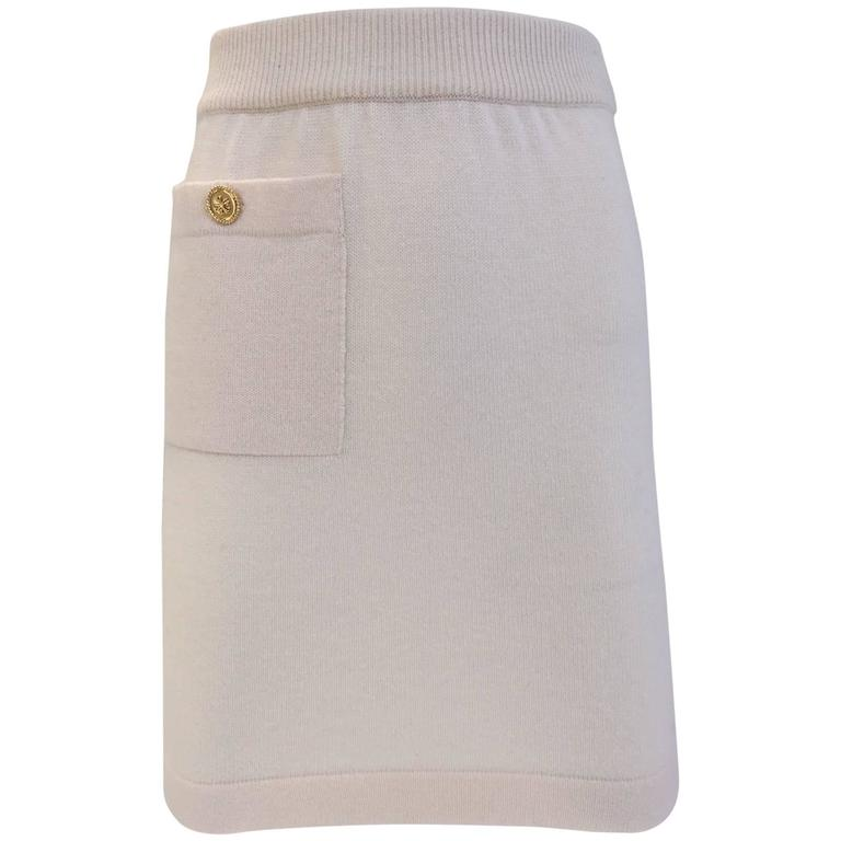 1980s CHANEL Creme Cashmere Mini Skirt