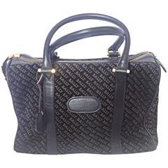 Vintage Bally dark navy genuine suede leather mini duffle, speedy type handbag
