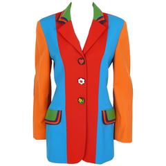 Moschino Vintage Color Blocked Wool Jacket