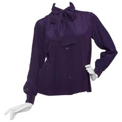 1980s Yves Saint Laurent Purple Silk Blouse