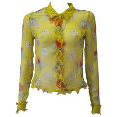 Gianni Versace Couture Sheer Yellow Floral Ruffle Trim Silk Shirt