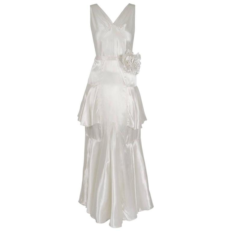 1930's Ethereal Ivory-White Satin Floral Applique Bias-Cut Tiered Deco Gown For Sale