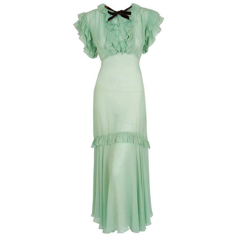 1930's Elegant Seafoam-Green Pleated Ruffle Silk Chiffon Bias-Cut Sheer Gown 1