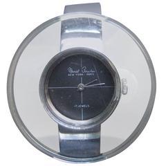 Marcel Boucher Mod Lucite Chrome Wrist Watch ca 1970