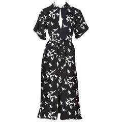 Yves Saint Laurent Crepe Bird Print Dress